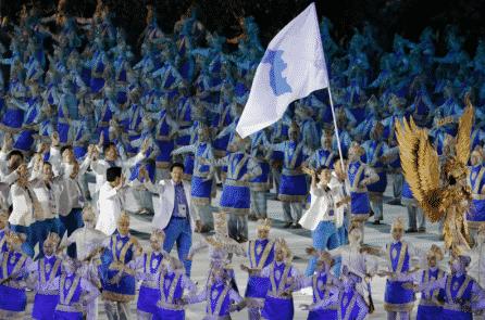 VĐV liên Triều diễu hành chung tại lễ khai mạc Asian Games 2018