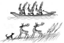 """Cảnh """"Chó đón hươu"""" trên các rìu đồng Đông Sơn"""