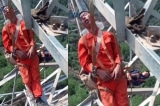Rùng mình cảnh công nhân TQ ngủ trên tháp tải điện cao 50m